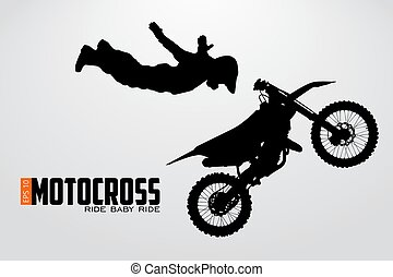Motocross drivers silhouette. Vector illustration -...