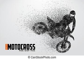 Motocross drivers silhouette. Vector illustration -...
