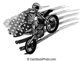 motocross, extrême, croix, sport, logo, moteur