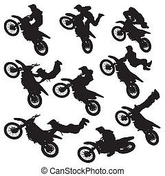 motocross freestyle silhouette - vector illustration...