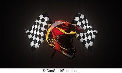 motocross helmet with flag video animation