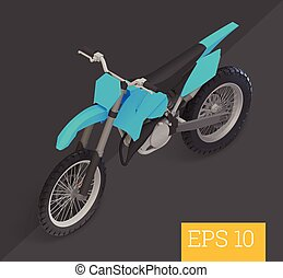 motocross isometric vector illustration - motocross bike...