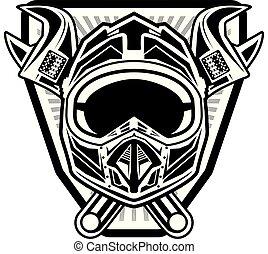 monocrome motocross helmet with x-cross wrench