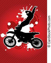 motocross, motard, silhouette