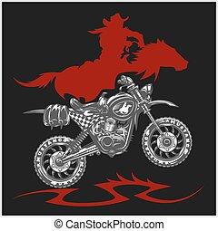 Motocross Moto and Horse - vector emblem on black background