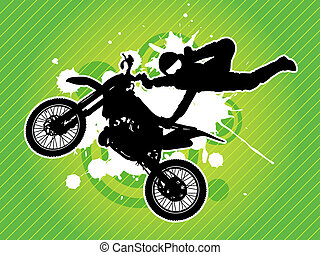 motocross, motociclista, silhouette