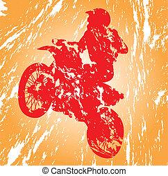 Motocross in grunge effect.