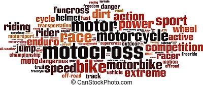 motocross, palabra, nube