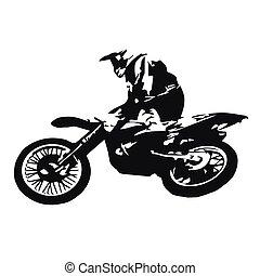 motocross, résumé, illustration, vecteur, sauter, cavalier