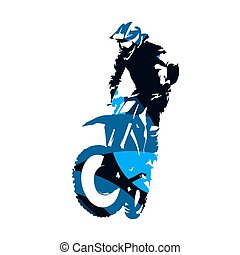 Motocross racing, abstract blue vector silhouette
