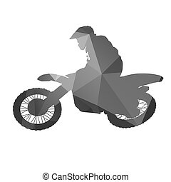 Motocross rider. Abstract geometrical silhouette