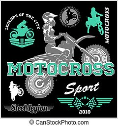 motocross rider badge logo emblem vector illustration