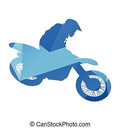 Motocross rider flying in the air, vector silhouette