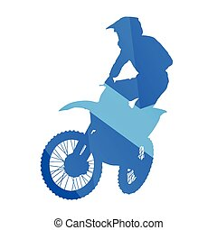 Motocross rider jumps in the air, vector silhouette