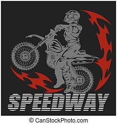 Motocross rider on a motorcycle - Illustration
