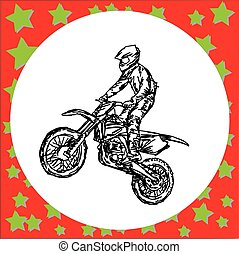 Motocross rider on a motorcycle jumping - vector illustration sketch hand drawn with black lines, isolated on white background