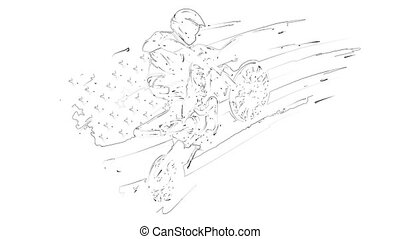 motocross rider ride the motocross bike laser animation
