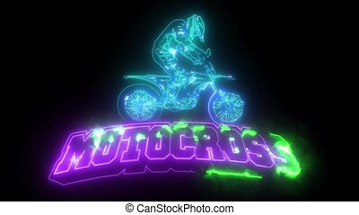 motocross rider ride the motocross bike laser animation -...
