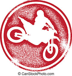 Motocross Rider Stamp - Distressed stamp style image...