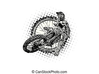motocross rider vector illustration
