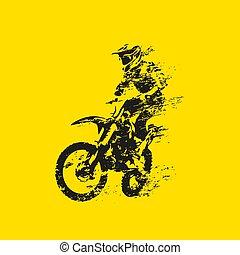 motocross, silhouette, vecteur, sien, vélo, cavalier, grunge, résumé
