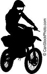 motocross, silhouettes, vecteur, noir, motorcycle., illust, cavalier
