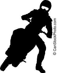 motocross, silhouettes, vektor, čerň, motorcycle., illust,...