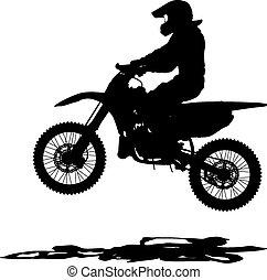 motocross, siluetas, vector, negro, motorcycle., illust,...