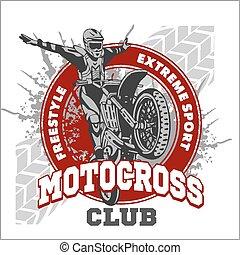 Motocross sport emblem - Motocross sport - vector emblem for...