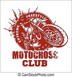 motocross, sport, emblemat