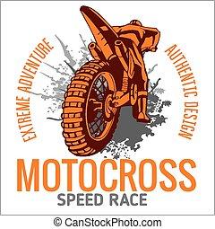 motocross, sportende, embleem