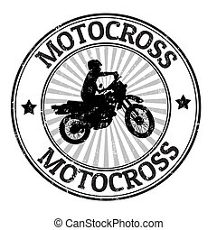 Motocross stamp - Motocross grunge rubber stamp, vector...
