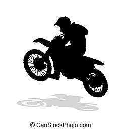 Motocross vector silhouette. Motocross jump. Moto racing