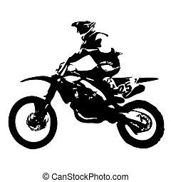 motocross, vettore, silhouette