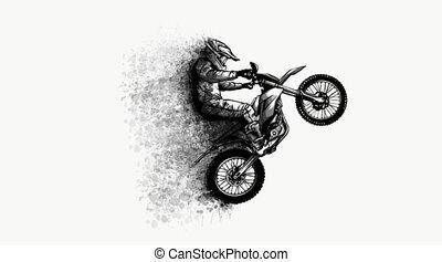 motocross, vidéo, fond, art, blanc