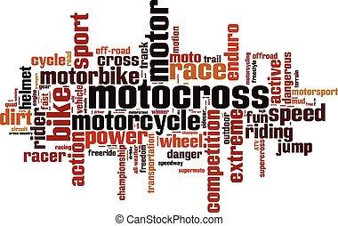 motocross, woord, wolk