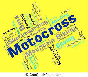 Motocross Words Indicates Motor Extreme And Motorbikes