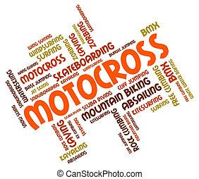 Motocross Words Represents Bike Enduro And Motorbikes
