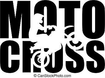 motocross, wort, mit, silhouette, freisteller