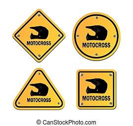 motocross - yellow signs