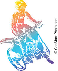 Motocrosser - Colorful illustration of a man riding...