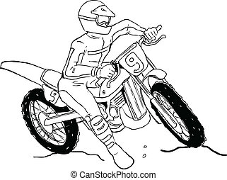 Motocrosser - Sketch illustration of a man on motocross