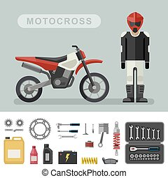 Motoctoss bike with parts.