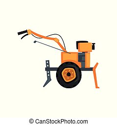 Motocultivator, agriculture machine, garden tiller vector Illustration on a white background