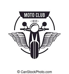 biker emblem with motocycle flying