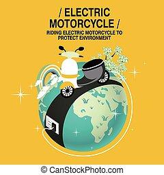 motocyclette, concept, électrique