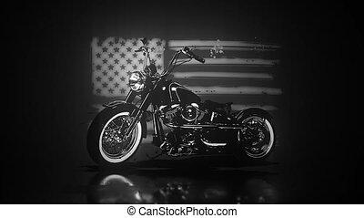motocyclette, couperet, vendange, drapeau, américain