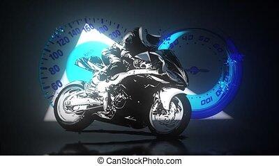 motocyclette course, moto, silhouette., route, résumé, cavalier