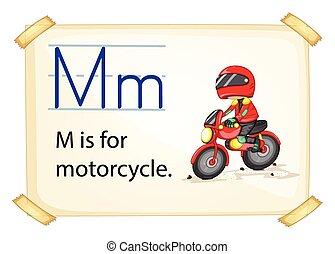 motocyclette, lettre m