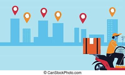 motocyclette, service livraison, courrier, animation